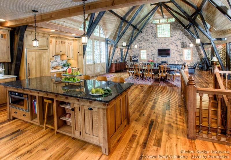 Log home kitchens pictures design ideas for Log barn homes