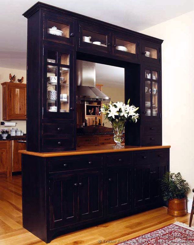 Dark kitchen cabinets with glass doors for Black kitchen cabinet doors