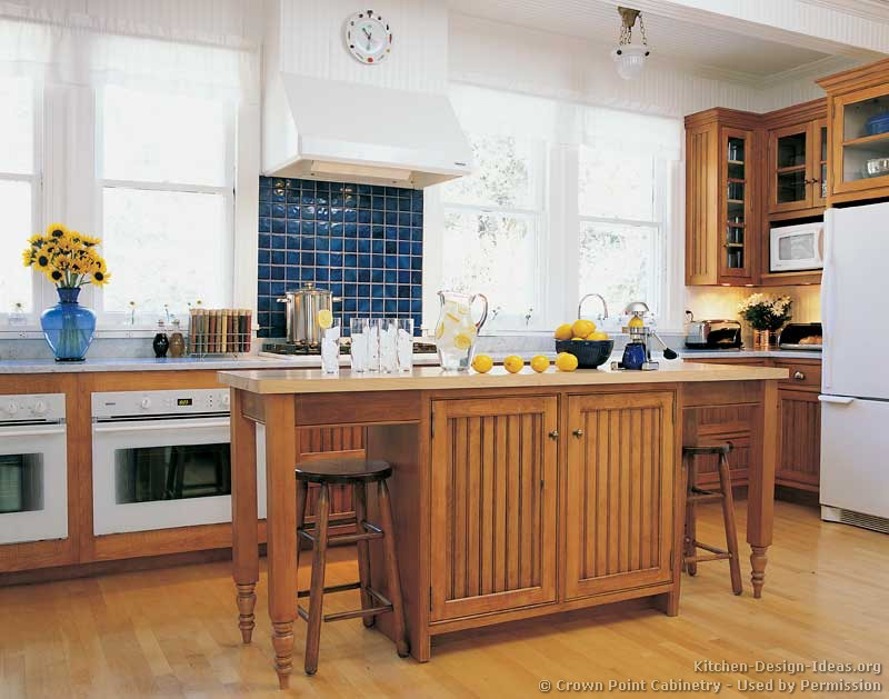 French blue backsplash for Country kitchen island designs