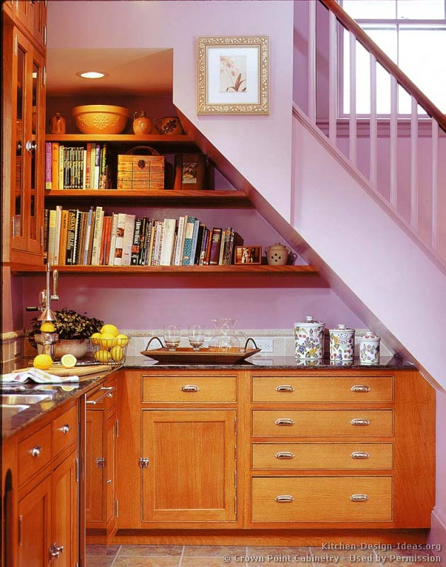 Pictures of kitchens traditional light wood kitchen for Under stairs kitchen ideas