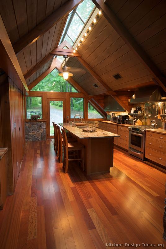 A Wood Cabin Kitchen With Vaulted Ceilings