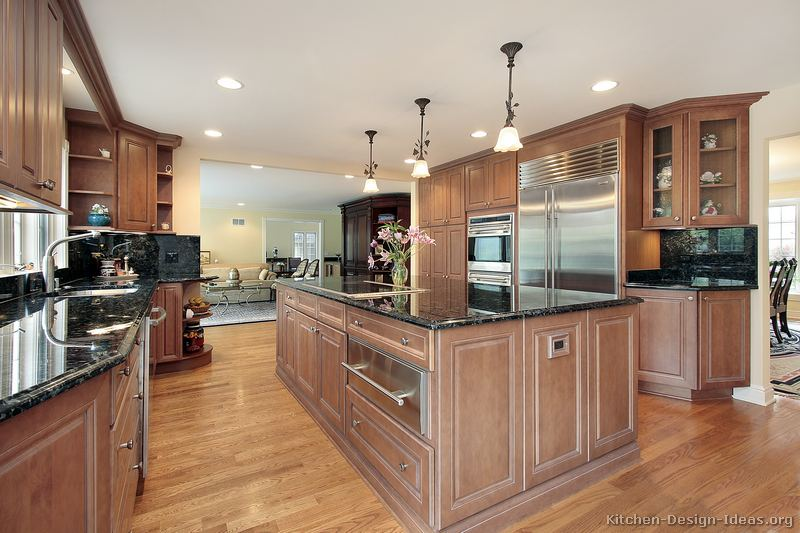 Pictures of kitchens traditional light wood kitchen for Angled kitchen cabinets