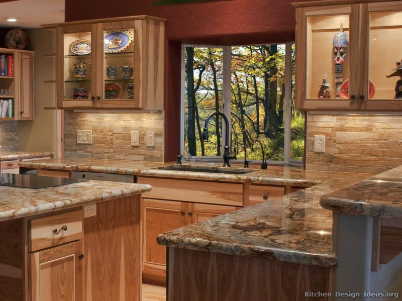 Hickory cabinets with granite counters cabin home for Traditional rustic kitchen
