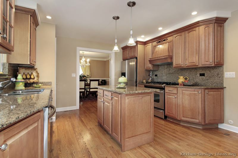 Pictures Of Kitchens Traditional Light Wood Kitchen Cabinets - Light brown kitchen cabinets wall color