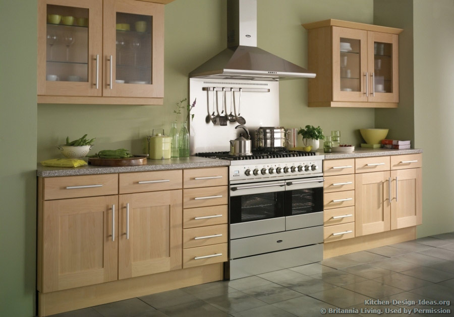 Natural Decor: This transitional beech wood kitchen features soft