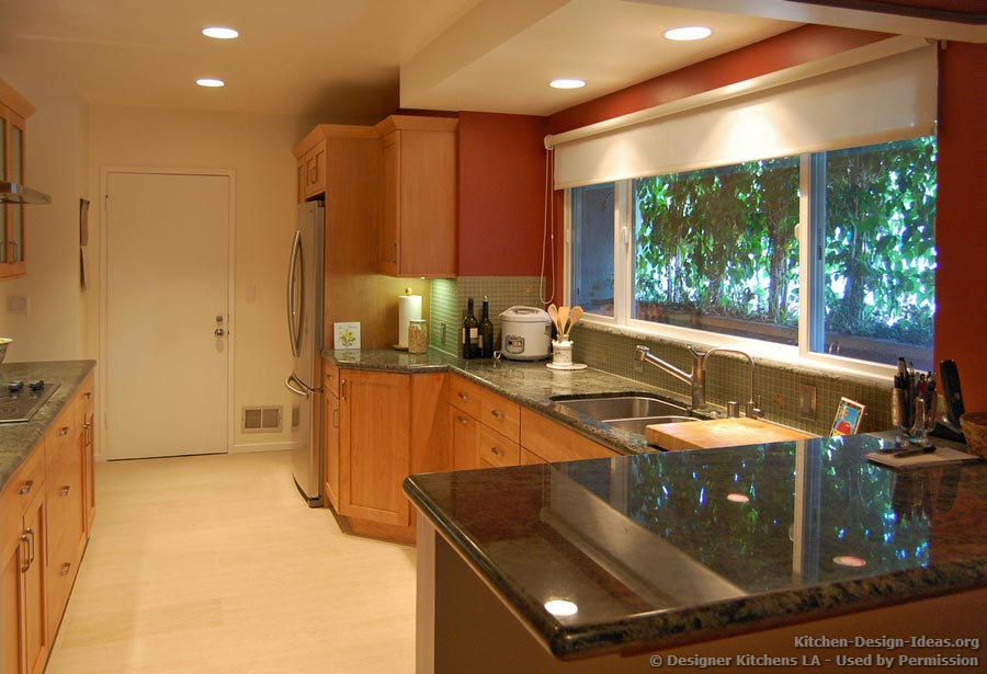Light Shaker Kitchen, Green Glass Backsplash  Designer Kitchens LA