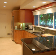 Light Shaker Kitchen, Green Glass Backsplash - Designer Kitchens LA