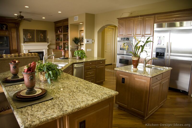 Pictures of kitchens traditional medium wood cabinets for Different kitchen island designs