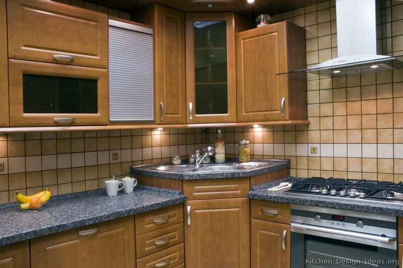 Pictures of kitchens traditional medium wood cabinets brown kitchen 18 Kitchen design with corner sink