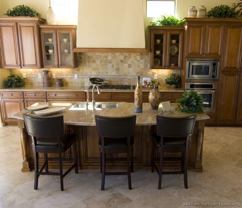Kitchen Design Brown: Medium Wood Cabinets