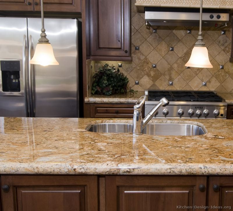 Granite Sandstone Countertop With Tan Cabinet Kitchen Design Ideas ~ Pictures of kitchens traditional medium wood cabinets
