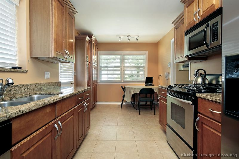 Pictures of kitchens traditional medium wood cabinets for Galley kitchen designs