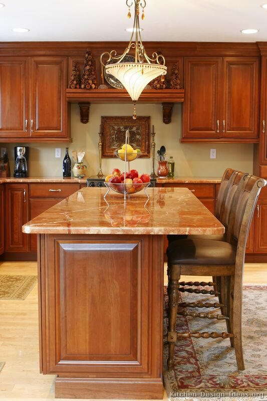 Pictures of kitchens traditional medium wood cherry - Images of kitchen islands ...