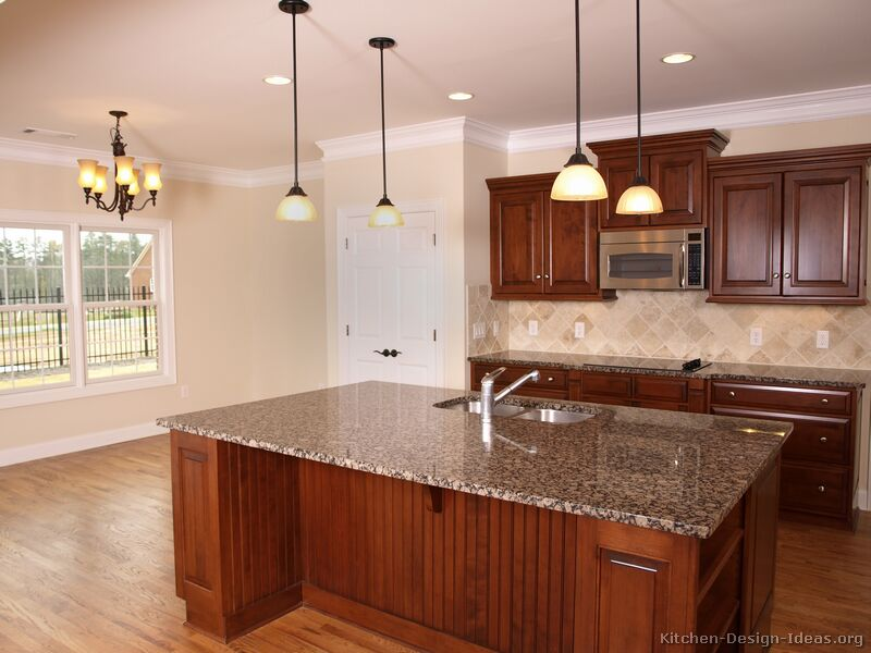 Pictures of kitchens traditional medium wood cherry for Kitchen color ideas with cherry cabinets