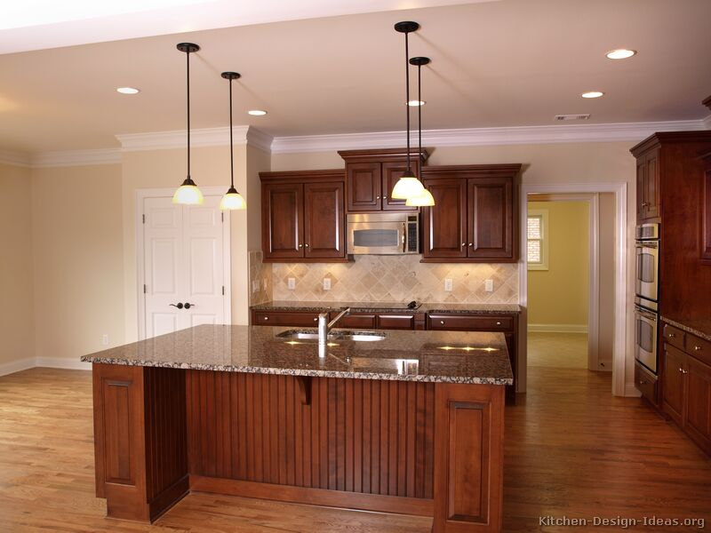 traditional medium wood cherry kitchen - Cherry Cabinet Kitchen Designs