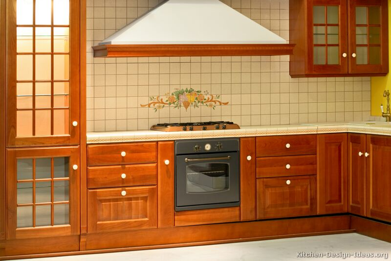 Pictures of kitchens traditional medium wood cherry for Kitchen cabinets india