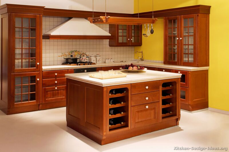 Pictures of kitchens traditional medium wood cherry for Kitchen ideas for medium kitchens