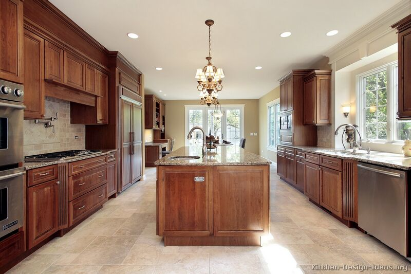 traditional medium woodcherry kitchen
