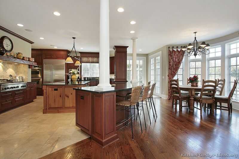 Pictures of kitchens traditional medium wood kitchens for Medium dining room ideas