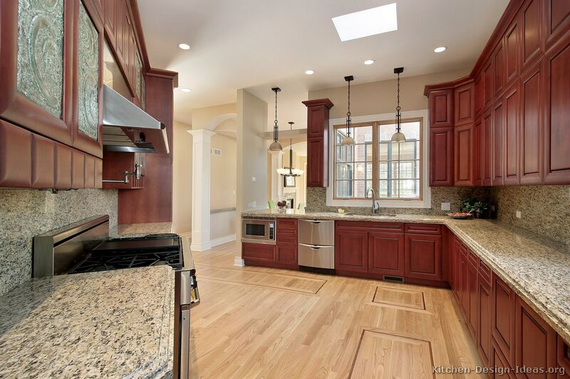 64, Traditional Medium Wood Cherry Kitchen