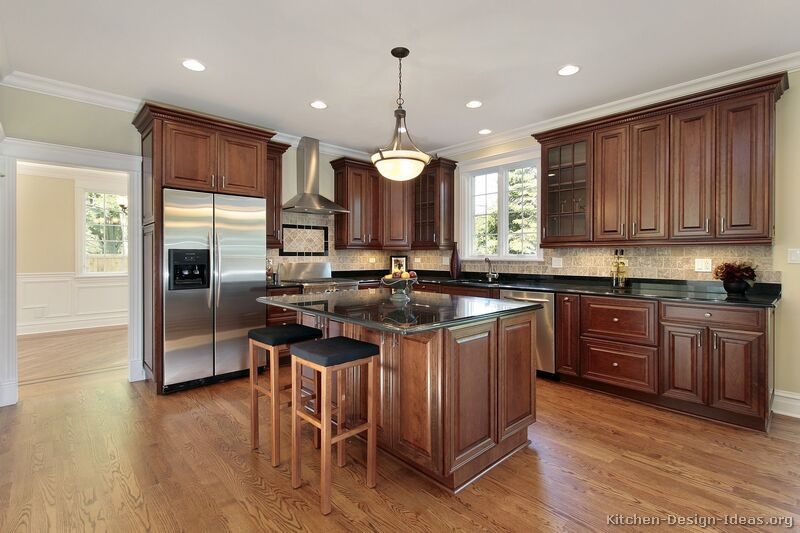 Kitchen backsplash ideas with cherry cabinets best home for Traditional flooring