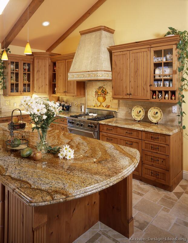 Granite Sandstone Countertop With Tan Cabinet Kitchen Design Ideas ~ Pictures of kitchens traditional medium wood golden