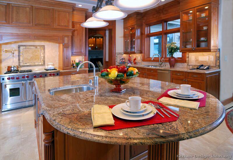 circular kitchen design. pictures of kitchens  traditional medium wood golden brown Circular Kitchen Design Ideas