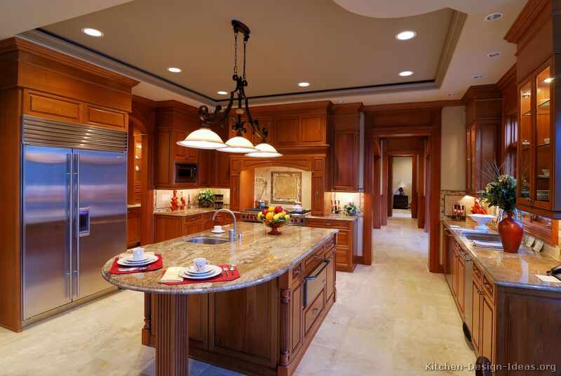 Pictures of kitchens traditional medium wood cabinets for Kitchen designs big