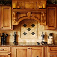 Travertine Tile Range Backsplash with Border and Accent Tiles