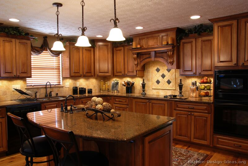 Tuscan Kitchen Design Style amp Decor Ideas : kitchen cabinets traditional medium wood golden brown 004a s8919676 wood hood island luxury from www.kitchen-design-ideas.org size 800 x 536 jpeg 80kB