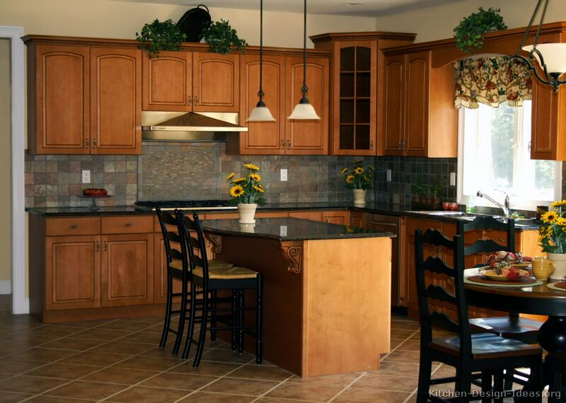 Pictures of kitchens traditional medium wood cabinets golden brown - Kitchen island color ideas ...