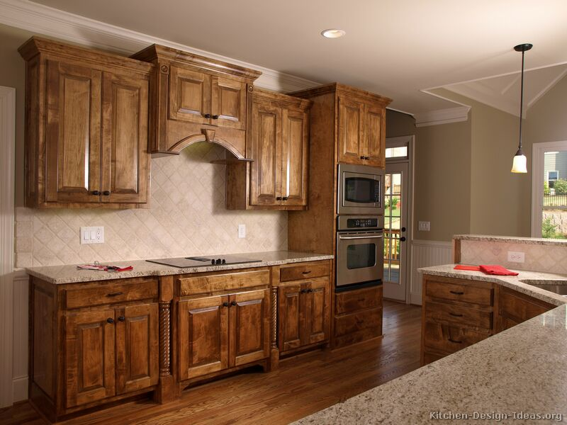 Pictures of kitchens traditional medium wood cabinets for Kitchen design ideas images