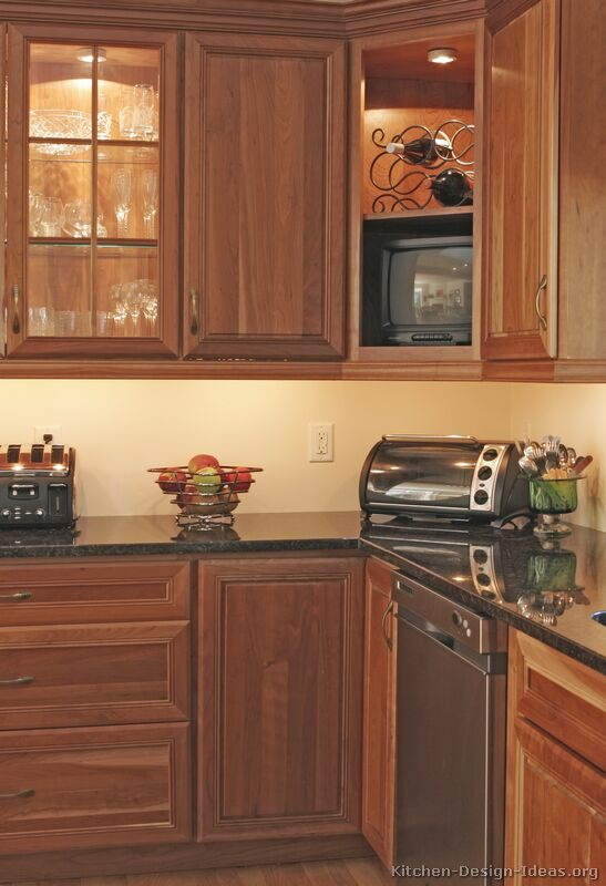Pictures of kitchens traditional medium wood golden for Tv in the kitchen ideas