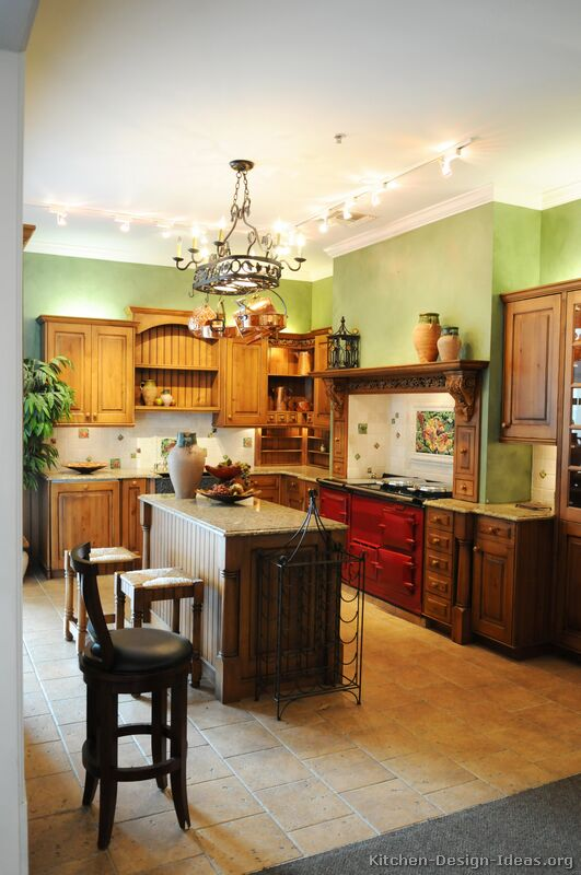 A Traditional Italian Kitchen Design with a Red AGA Stove (2 of 3)