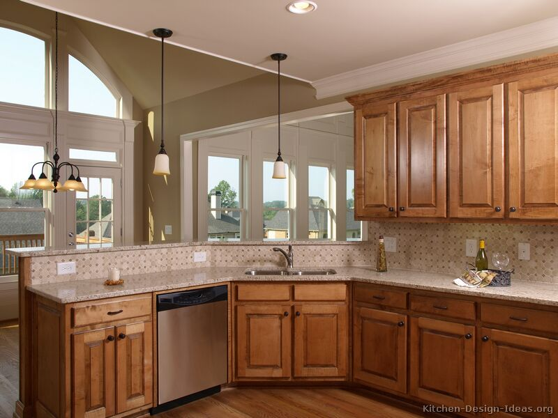 Pictures of kitchens traditional medium wood golden for Corner sink kitchen design ideas