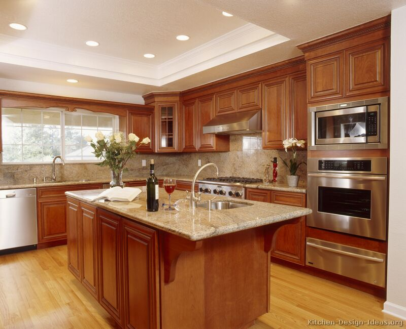 Pictures of kitchens traditional medium wood cabinets for Beautiful kitchen colors
