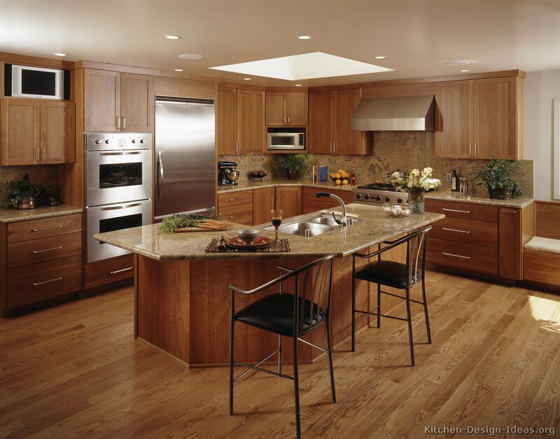 44, Traditional Medium Wood Golden Kitchen