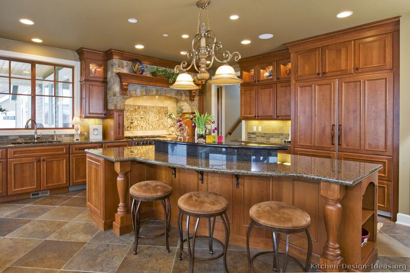 61, Traditional Medium Wood Golden Kitchen