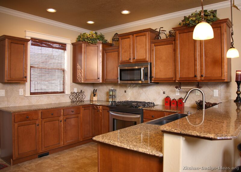 peninsula pictures of kitchens traditional medium wood cabinets golden