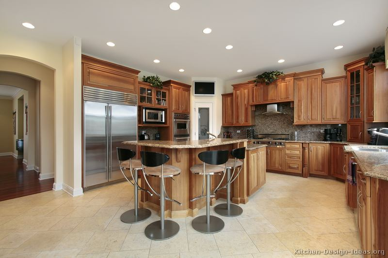 Pictures of kitchens traditional medium wood cabinets for Kitchen plans with island and pantry