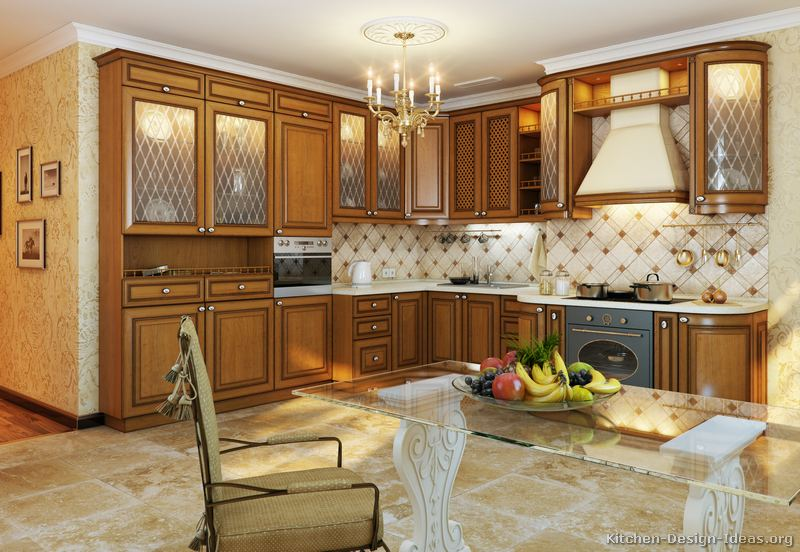 Pictures of kitchens traditional medium wood cabinets - Como decorar una cocina rustica ...
