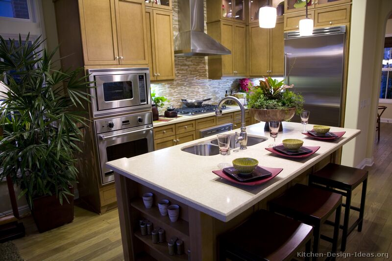 Pictures of Kitchens  Traditional  Medium Wood Cabinets, Olive Color