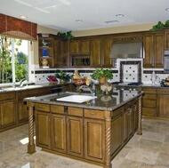 Traditional Medium Wood-Olive Kitchen
