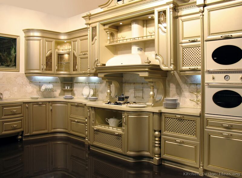 of kitchens featuring gold kitchen cabinets in traditional styles