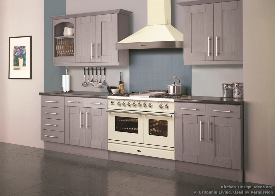 Superb A Soft Lavender Kitchen With A Cream Colored Range Oven And Hood