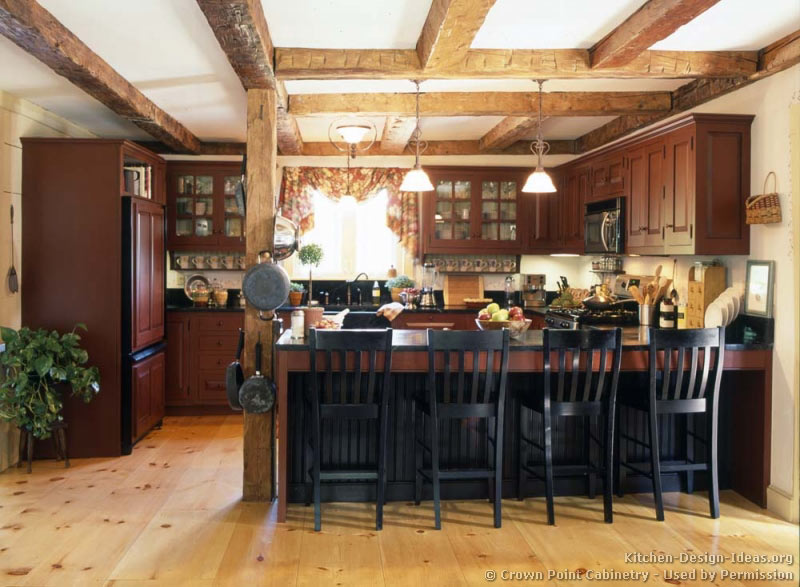 Rustic Country Kitchen with Reclaimed Wood Beams