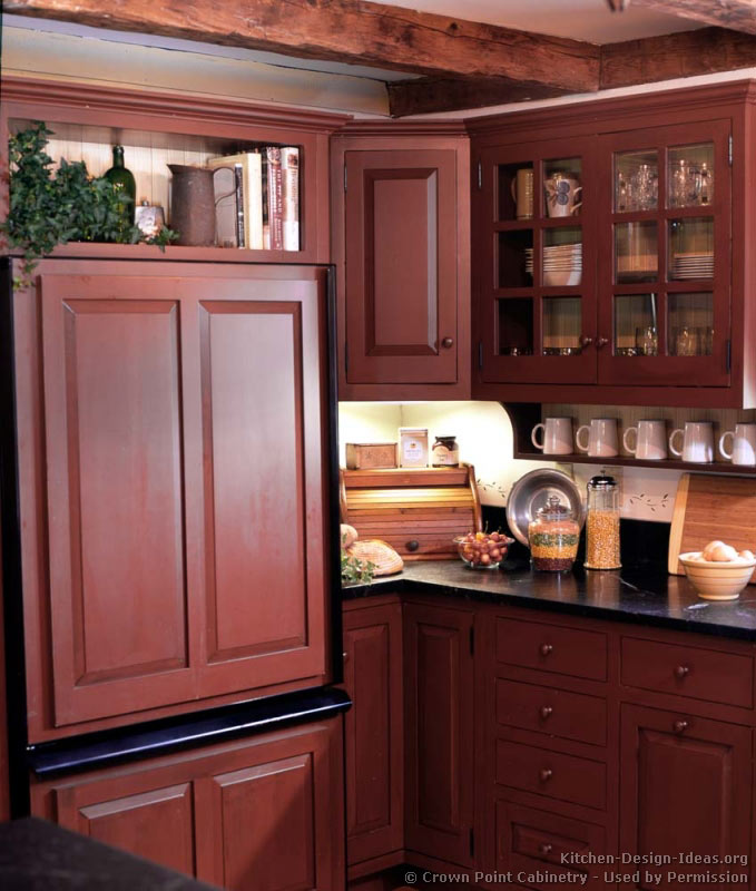 Red Kitchen Cabinets ~ A rustic country kitchen in the early american style