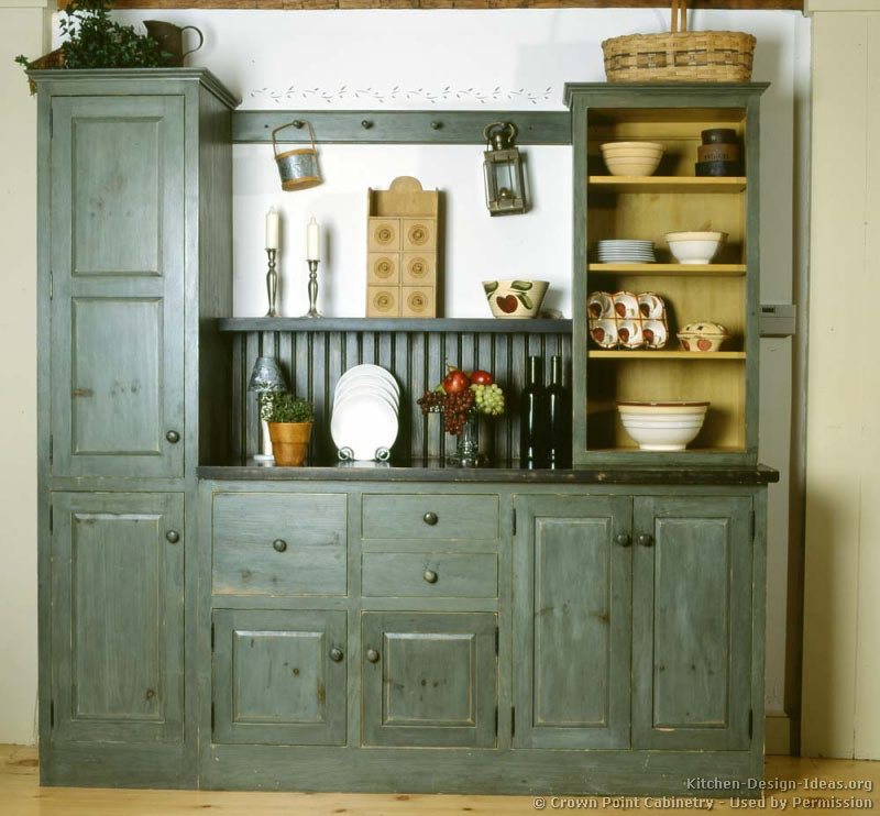 Rustic Country Kitchen with a Grayish Blue-Green Hutch