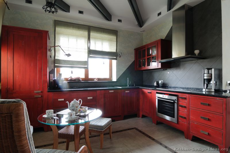 Red Kitchen Cabinets ~ Pictures of kitchens traditional red kitchen cabinets