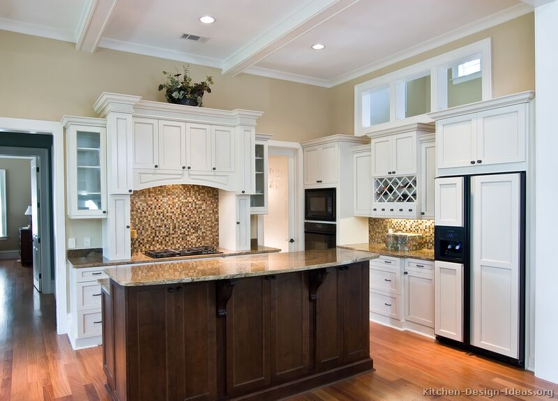 Pictures of kitchens traditional white kitchen cabinets page 6 - White kitchen with dark island ...
